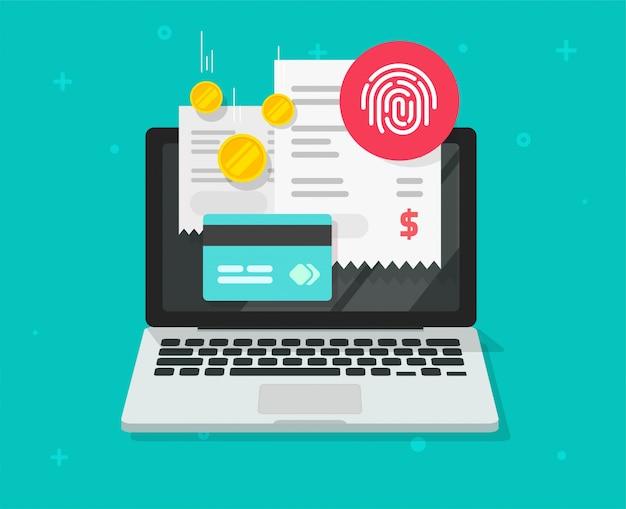 Pagamento de contas on-line via cartão de crédito e identificação de impressão digital por toque no laptop ou conceito de pagamento digital eletrônico no pc via impressão digital no notebook pc plana