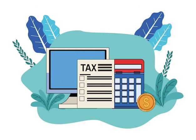 Pagamento de dia de imposto com design de ilustração de desktop e calculadora