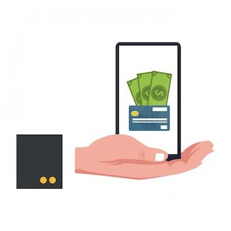 Pagamento de dinheiro de smartphone com cartão de crédito