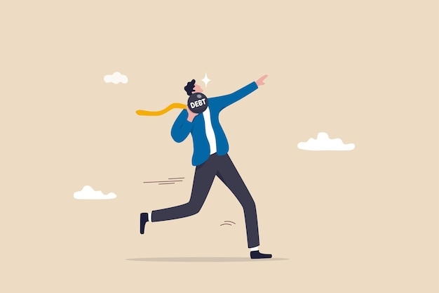 Pagamento de dívidas, empréstimo ou hipoteca, solução para resolver o problema, livre de obrigações, motivação para o conceito de sucesso financeiro, empresário forte atirou jogando fora o peso da dívida metáfora do pagamento de dívidas.