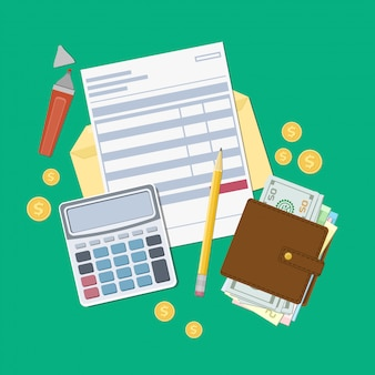 Pagamento de faturas ou nota fiscal. abra o envelope com um cheque, calculadora, bolsa com dinheiro, lápis, marcador, moedas de ouro. vista de cima. ilustração. design web plana.