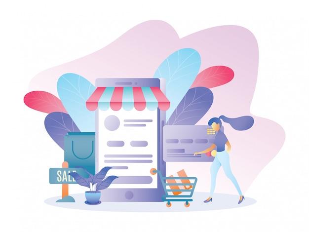 Pagamento de ilustração para compras on-line