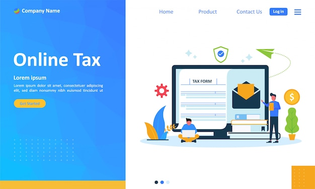 Pagamento de imposto on-line para a página de destino da web
