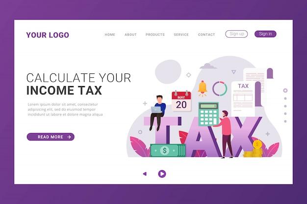 Pagamento de impostos on-line do modelo da página de destino
