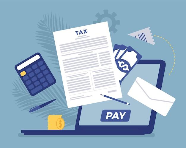 Pagamento de impostos online via laptop. atendimento direto ao contribuinte com conta net-banking, tecnologia financeira e opção de negócio para cálculo de receita para simplificar. ilustração em vetor estilo simples dos desenhos animados