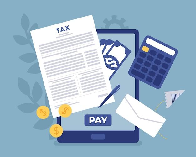 Pagamento de impostos online via tablet. serviço eletrônico para que os contribuintes paguem a renda individual e os impostos sobre negócios, conveniência e-payment facilita, sistema móvel. ilustração em vetor estilo simples dos desenhos animados