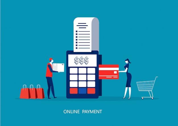Pagamento de mulher com terminal pos e cartão de crédito