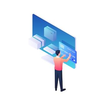 Pagamento de parcelas online ilustração isométrica. o personagem masculino faz o pagamento de mercadorias com cartão de crédito no aplicativo móvel. conceito de entrega rápida de lojas de marketing e web modernas.