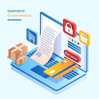 Pagamento de segurança de conceito de comércio eletrônico isométrico