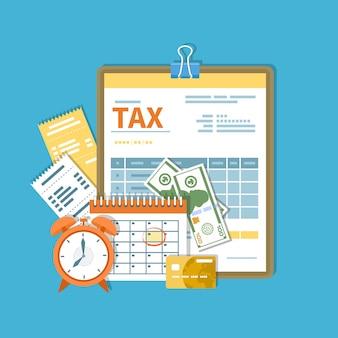 Pagamento de taxa. governo, impostos estaduais. dia de pagamento. formulário fiscal em uma prancheta, calendário financeiro, relógio, dinheiro, dinheiro, cartão de crédito, faturas.