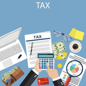 Pagamento de taxa. impostos do governo.