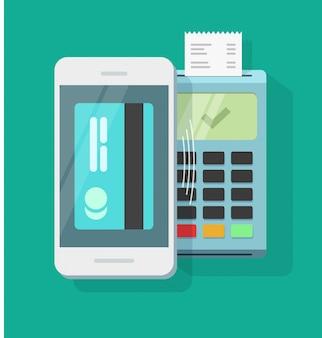 Pagamento de telefone móvel, processamento de tecnologia sem fio ou ar smartphone pagamento vector plana dos desenhos animados