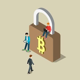 Pagamento de transação segura de segurança bitcoin isométrica plana