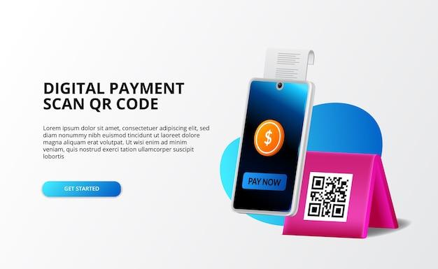 Pagamento digital, conceito sem dinheiro. pagar com telefone e digitalizar código qr, banco digital e dinheiro conceito de ilustração 3d para modelo de página de destino