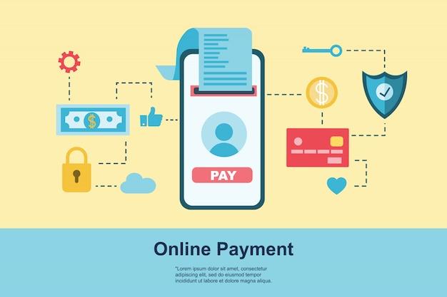 Pagamento do conceito de design plano. método de pagamento e opção ou canal para transferir dinheiro. conceito de banner, design de site ou página da web de destino