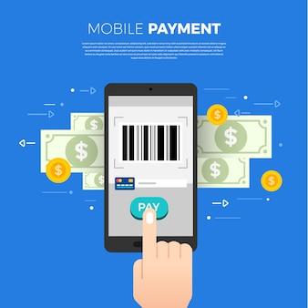Pagamento do conceito de design plano. método de pagamento e opção ou canal para transferir dinheiro. ilustrar.