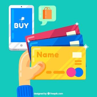 Pagamento eletrônico, celular e cartões