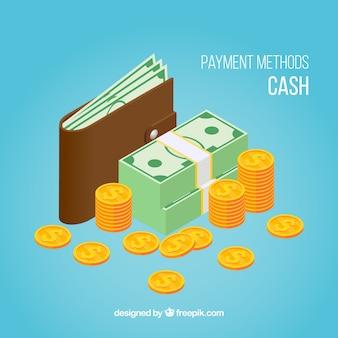 Pagamento em dinheiro com estilo isométrico