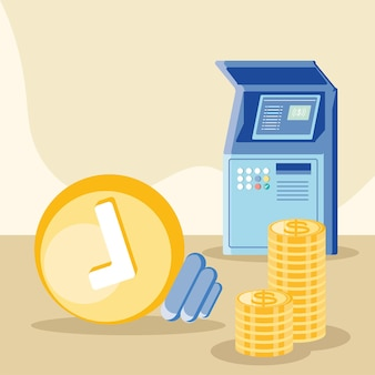Pagamento em dinheiro e atm