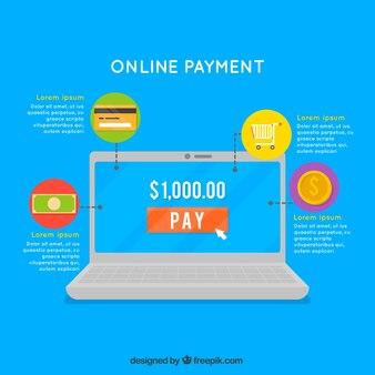 Pagamento em linha, computador em fundo azul
