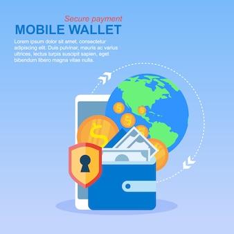 Pagamento global de transferência de dinheiro da carteira do telefone móvel