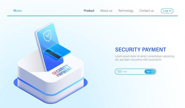 Pagamento isométrico de segurança e tecnologia de proteção de dados