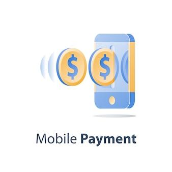 Pagamento móvel, banco online, serviços financeiros, smartphone e moeda de dólar