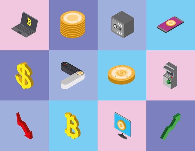 Pagamento móvel de moedas isométricas de dinheiro