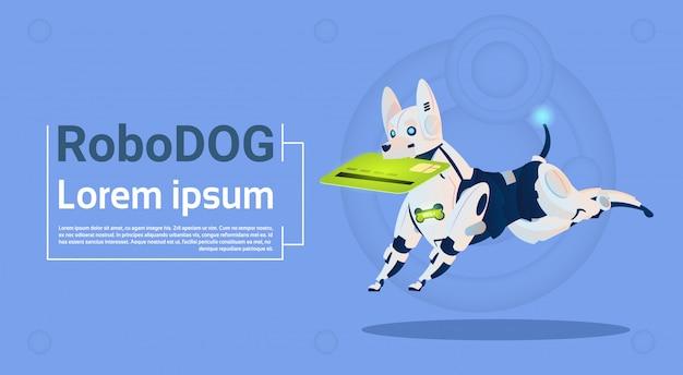 Pagamento móvel do cartão de crédito da preensão do cão robótico para a tecnologia artificial da inteligência artificial do animal de estimação moderno do robô da compra em linha