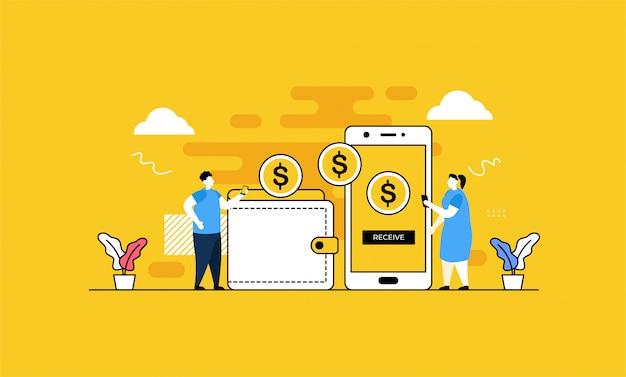 Pagamento móvel em estilo simples
