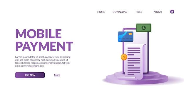 Pagamento móvel fofo do telefone 3d com cartão de ícone 3d, dinheiro, ilustração de moeda com visor de palco pódio