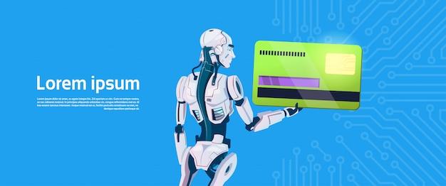 Pagamento móvel moderno do cartão de crédito da posse do robô, tecnologia futurista do mecanismo da inteligência artificial