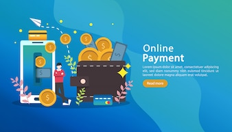 Pagamento móvel ou conceito de transferência de dinheiro. ilustração de compras de mercado on-line.