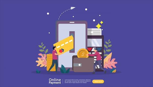 Pagamento móvel ou conceito de transferência de dinheiro para o mercado de comércio eletrônico, compras on-line ilustração com caráter de pessoas pequenas. modelo para página inicial da web, banner, apresentação, mídia social, mídia impressa