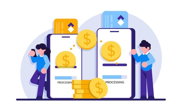 Pagamento móvel. transfira dinheiro online. transação telefônica, pagamento de internet comercial e banco digital Vetor Premium