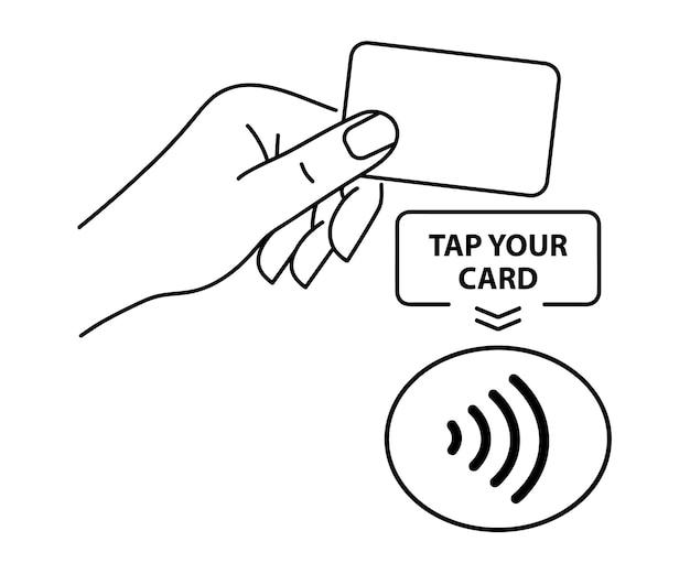 Pagamento nfc. ícone de pagamento sem contato. sinal de pagamento sem fio nfc sem contato. toque para pagar o conceito - sinal vetorial.