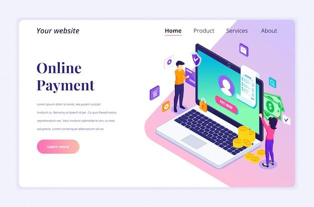 Pagamento on-line, conceito de transferência de dinheiro. as pessoas estão fazendo uma transação online. apartamento moderno isométrico para modelo de página de destino
