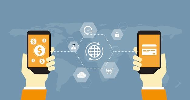 Pagamento on-line de negócios plana e conceito de transferência de dinheiro