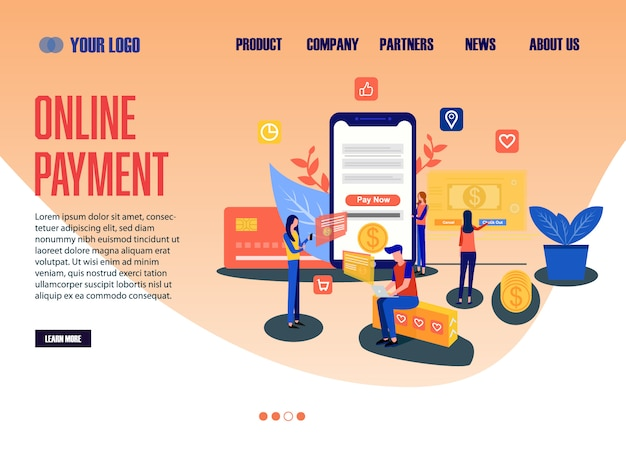 Pagamento on-line do modelo da web da página de destino