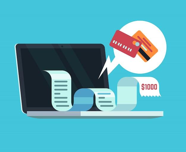 Pagamento on-line e conceito de fatura digital. pagando recibo na tela do computador.