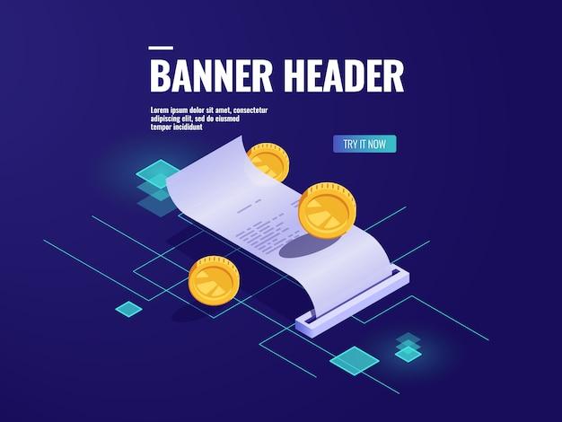 Pagamento on-line, ícone isométrica de recibo de papel, imposto com moeda, conceito de transação de dinheiro