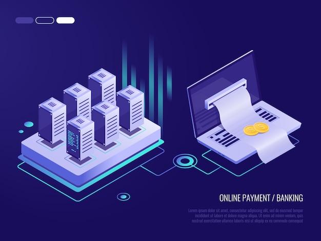 Pagamento on-line no laptop, grande fatura para pagamento saindo da tela do laptop