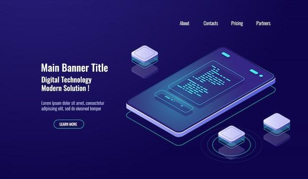 Pagamento on-line, relatório de pagamento isométrico, pagamento on-line, mensagem de texto na tela do celular
