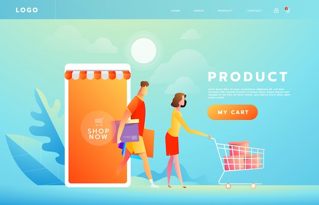 Pagamento on-line usando o conceito de aplicativo com casal compras no smartphone