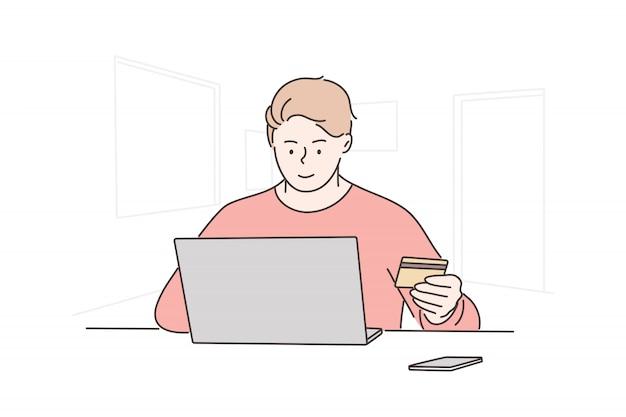 Pagamento online, compras, compra, tecnologia, conceito do negócio
