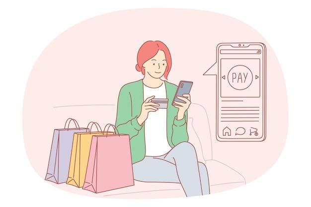 Pagamento online, transação eletrônica, conceito de pedido online