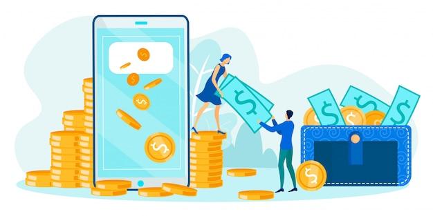 Pagamento online, transferência de dinheiro e transação