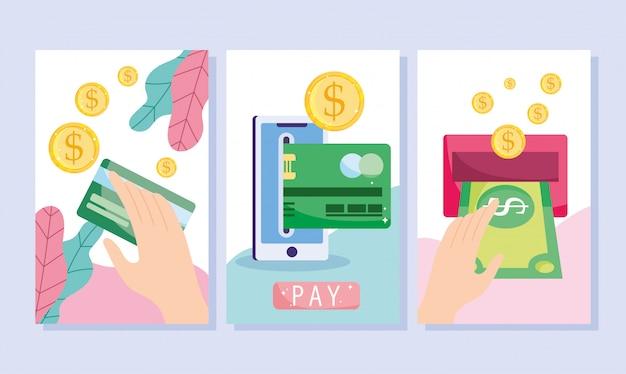 Pagamento online, transferência de dinheiro por cartão bancário de smartphone, compras no mercado de comércio eletrônico, banners de aplicativos para dispositivos móveis