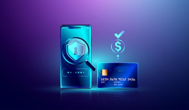Pagamento online via proteção de cartão de crédito no smartphone