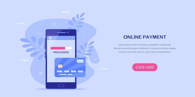 Pagamento pela internet com o banner do conceito de telefone móvel. smartphone com cartão de crédito. ilustração do estilo simples.